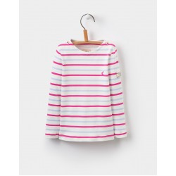 Top - Joules Girls Harbour   - True pink multi stripe