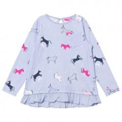 Top - Joules - Lila -  Blue Dancing Unicorns - 1y