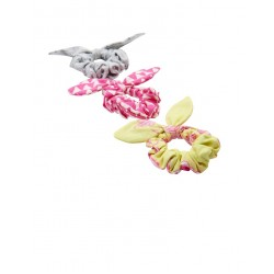 Hair - Joules Girls Hair Scrunchies, in Neon Lime Peony