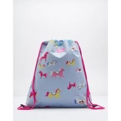 Bag - Joules Girls Drawstring bag - Sky Blue Horse