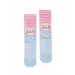 Socks - Joules Jnr Cat - blue and pink - s/m /9-12 - 3x