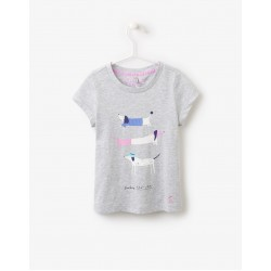 Top - Joules Girls Pixie - Grey marl dog - 3-4, 5-6y - SALE