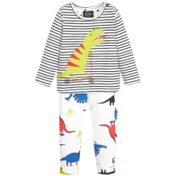 Set - Joules Baby Byron set - Cool Blue Dino Stripe - 9-12, 12-18m - sale