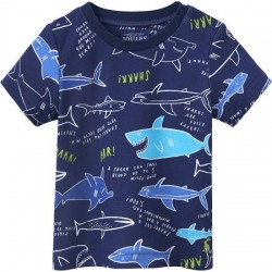 Top - Joules Baby Scenewell - Navy Shark Facts - 6-9, 9-12, 12-18m - sale