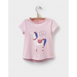 Top - Joules Girls Maggie - Rose Pink Horse - 3-4, 5-6y
