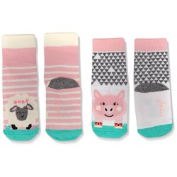 Socks - Joules Baby socks - Farm - pinl