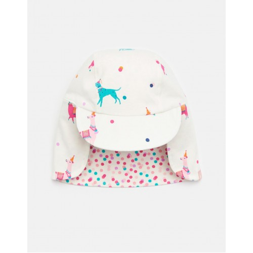 Hat - Joules Baby - Sunny reversible hat- CREAM FESTIVAL FRIENDS - 0-6, 1-2, 6-12
