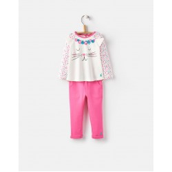 Set - Joules Baby AMALIE 2-PIECE SET - FESTIVAL SPOT CAT - 0-3, 3-6, 12-18