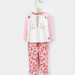 Set - Joules Baby Amalie  - Rose Pink Cat - 0-3m - sale