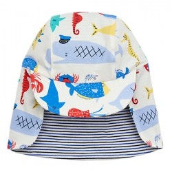 Hat - Joules Baby - Sunny Reversible - Cream Sea - 0-6, 6-12, 1-2y,