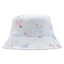 Hat - Joules Baby - Sunseeker -  Reversible Sun Hat - sky  pink blue dog - 6-12m - Sale