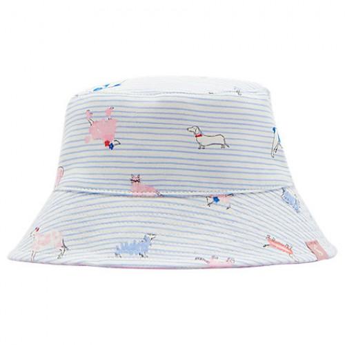 Hat - Joules Baby - Sunseeker -  Reversible Sun Hat - sky  pink blue dog - 6-12m - Sale