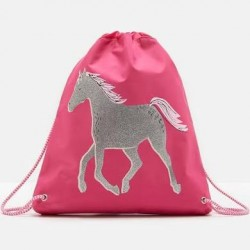 Bag - Joules Girls acitve Drawstring bag  - Parisian Pink Horse
