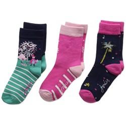 Socks - Joules Girls - 3pc Bamboo - Abracadabra - 9-12 shoe size