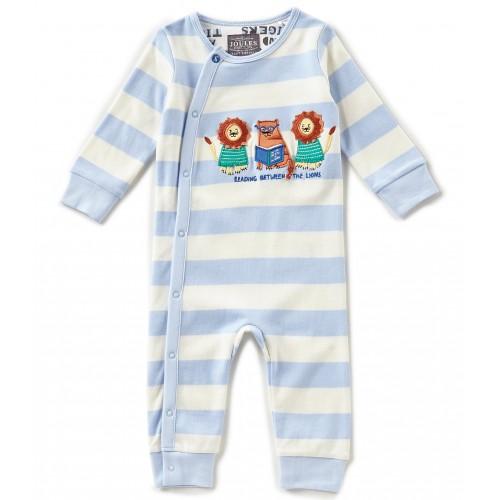 Babygrow - Joules Fife - sky blue stripe - 0-3, 3-6m - sale