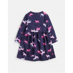 Dress - Joules - ALINA - HOTCH POTCH DRESS - NAVY MAGICAL UNICORN - 3, 4, 5y