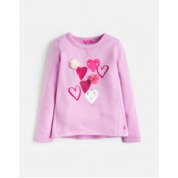 Sweathsirt - Joules Marl - NEON MAUVE HEARTS - 3, 4, 5,6 y