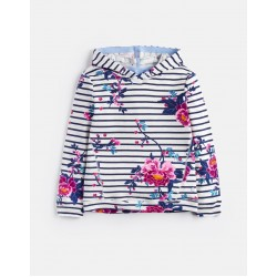 Sweatshirt - Joules -Marlston Hooded Sweater - Stripe Chinoise Floral   6,  9-10y