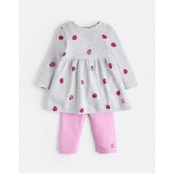 Set - Joules - CHRISTINA DRESS AND LEGGING SET - GREY MARL LADYBIRD  - 6-9, 9-12, 18-24m