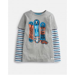 Top - Joules - Boys Liam - GREY MARL BOARD - 5, 6, 7-8, 9-10, 11-12y