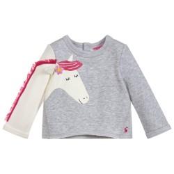 Sweatshirt - Joules Baby Girl - Dash - GREY MARL HORSE- 0-3, 3-6, 6-9m