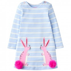 Dress - Joules Girls' Kaye Bunny Dress in  Sky Blue - 1, 2,  4, 5y sale