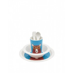 Set - Joules -  Turquoise Time To Dine 5 Piece Melamine Set - Bear