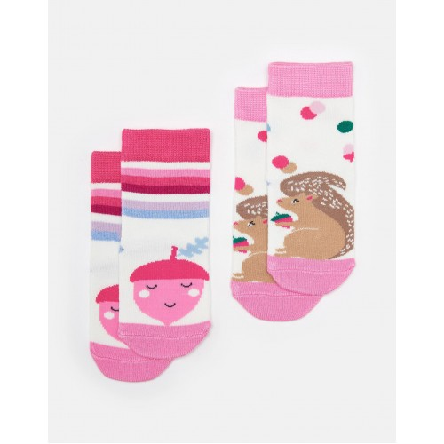 Socks - Joules - Baby Neat Feet Bamboo - Pink Squirrel  - 6-12m and 1-2, 2-3y
