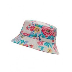 Hat -  Joules Girls - Reversible SUN Hat, Creme Floral - s/m , m/l  (3-7Y AND 7-12Y - last 2 in sale