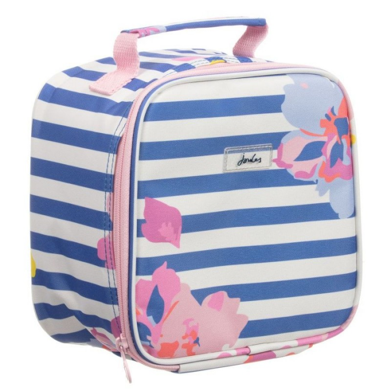 Bag - Joules Munch Girls Insulated Lunch Bag with Free Lunch Box - Mid blue  floral - sale