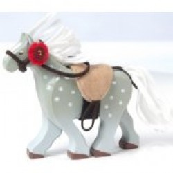 Toy - Wooden Grey Horse with Saddle