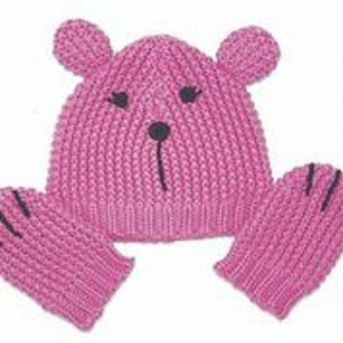 Lilly&Sid - Hat/Mitten set - Pink in SALE  - last 12-24m