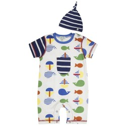 Set -  L&S SEA  ROMPER AND HAT SET - 6-12m  last in clearance sale