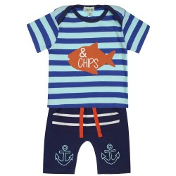 Set - L& S - FISH 'N' CHIPS JERSEY SET - 3-6, 6-12, in SALE