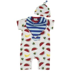 Set - L&S - BEE= ROMPER, BIB AND HAT SET 0-3m , 3-6m , 6-12m in SALE