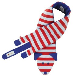 Scarf - baby dog - light blue and red stripe