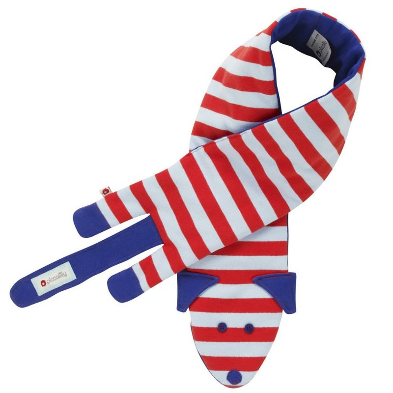 Scarf Baby Dog Light Blue And Red Stripe