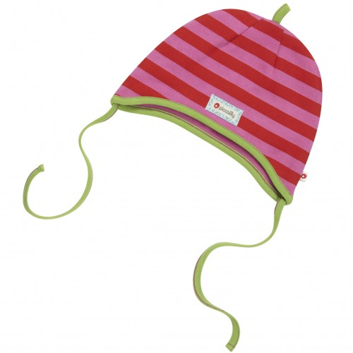 Hat - Piccalilly - organic cotton - pink red stripe lAST 1 in SALE s/m (0-2y)