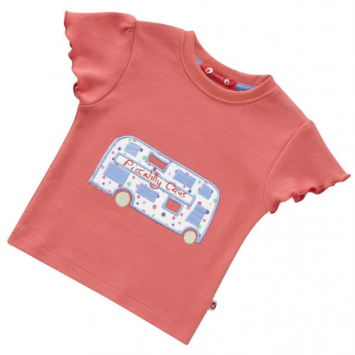 Piccalilly - Girls - Poppy Red Piccalilly Circus Bus T - Shirt  in LEFT in SALE