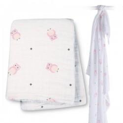 Muslin/Swaddle - Pink Owl