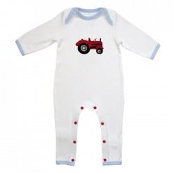 Babygrow - Tractor with crochet farmyard motive in SALE 0-6, 6-12m