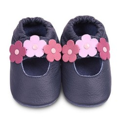 Shoes - Clearance  - Navy  with pink flower  bar - 0-6m, 18-24m