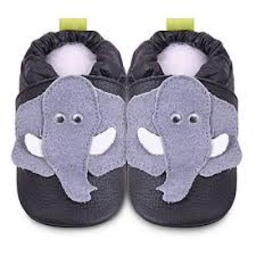 Shoo shooes - Black/grey elephant - SALE - 6-12m