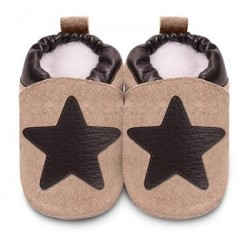 Shoes - Clearance - Tan/Brown Star - 0-6m  6-12, 18-24m