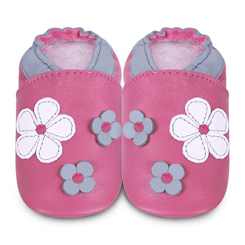 Shoes - Clearance  - Cerise Pink Flowers - SALE - 18-24m last one
