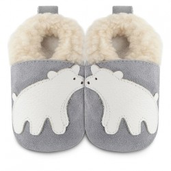 Shoes - clearance - Grey flece polar bear - SALE -  0-6 last one