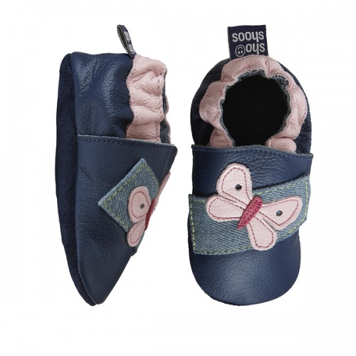 Shoo Shoos - Navy and Pink Butterfly - SALE - 18-24m