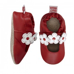 Shoes - Clearance  - Red and White Flower T Bar - SALE - 0-6m