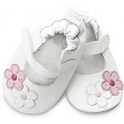 Shoes - Clearance - White Ballet / 2 Flowers - SALE - 18-24m last one