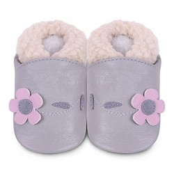 Shoes - Clearance  - Grey Warm - with pink flower - 18-24m